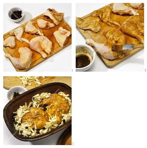 Pikantes Apfel-Hähnchen mit Rosinen & Calvados zubereiten