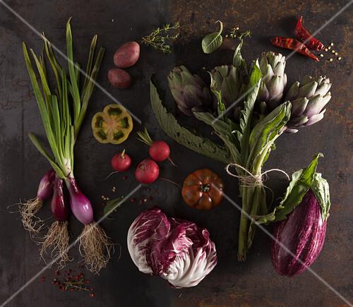 Still life with violet vegetables