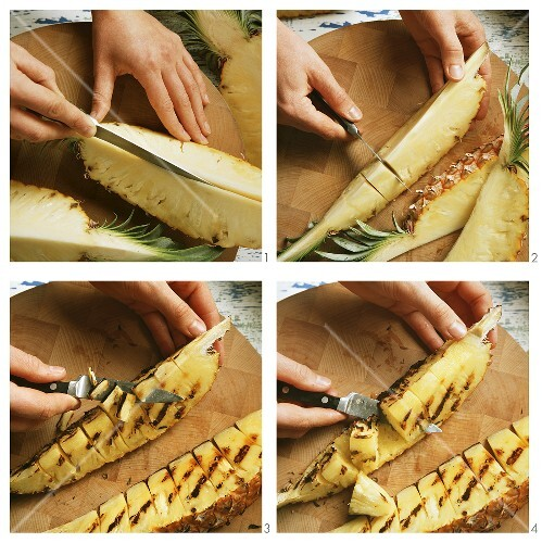 Slicing and grilling pineapple