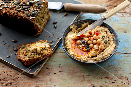Oat bread with hummus