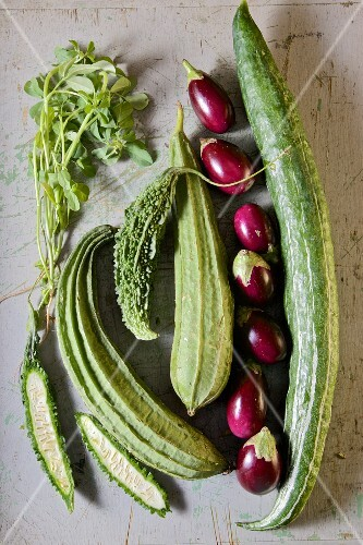 Vegetables from India: Cucumber, eggplant, Green Bitter Gourd