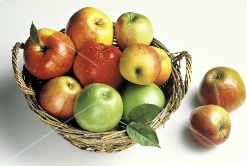 Assorted Types of Apples in a Basket