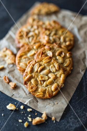 Peanut cookies on baking paper