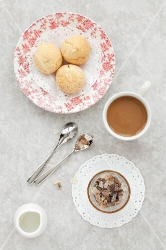 Italian Almond Amaretti Cookies and Coffee