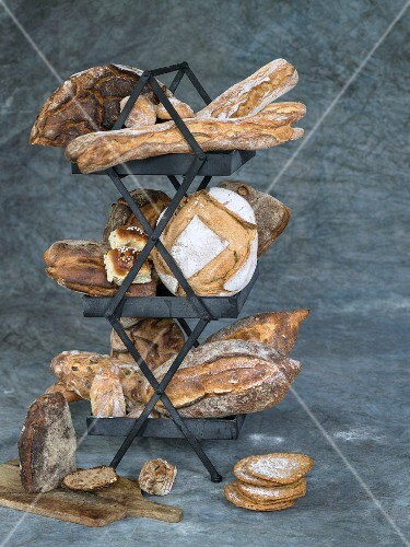 Various bread types on a stand
