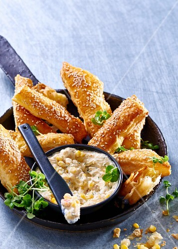 Smoked fish and sweetcorn spread with flaky pastry sticks