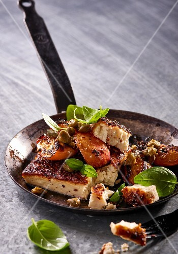 Feta with a spicy crust and grilled nectarines