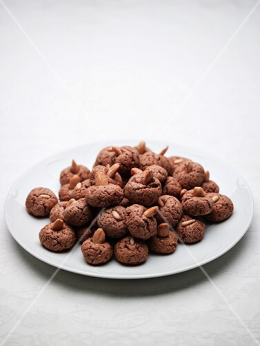 Almond biscuits on a plate