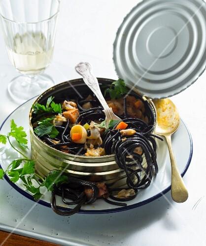 Black spaghetti in a can