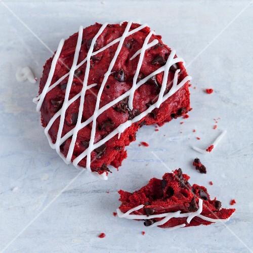 Red velvet cupcake, half eaten