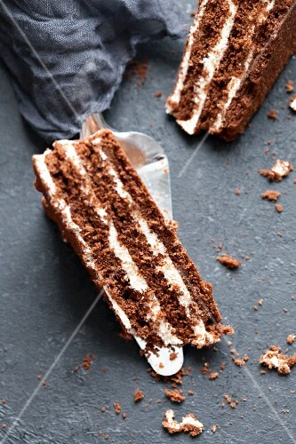 Chocolate cake with vanilla topping