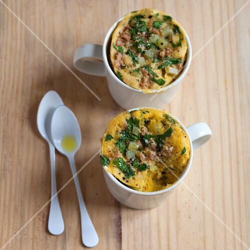Savoury mug cakes with tuna, diced potato and harissa