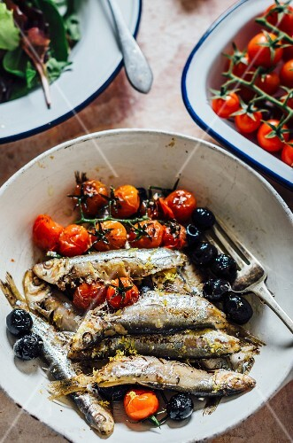Sprats with olives and cocktail tomatoes