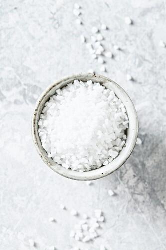 Rock salt in a ceramic bowl