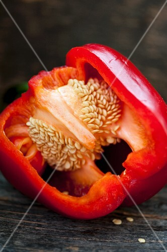 Red pepper on a metal tray