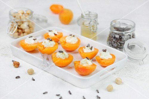 Apricots with cream cheese honey and chocolate