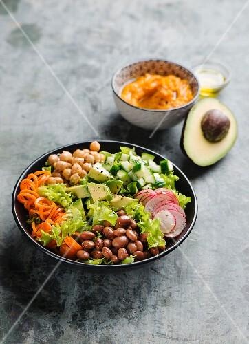 Mixed salad with sweet potato puree