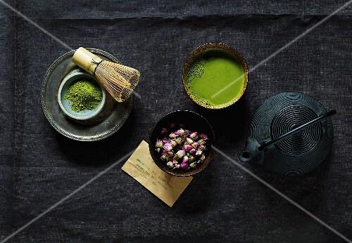 Matcha tea and rosebuds