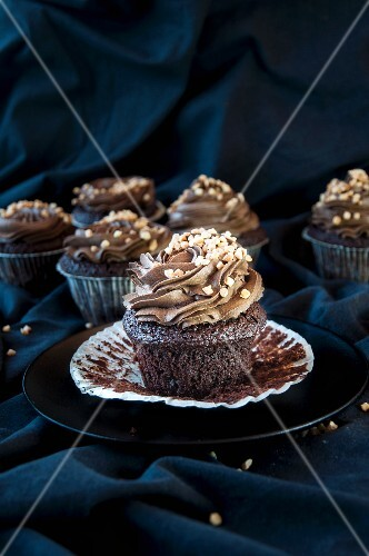Chocolate cupcakes with chocolate and avocado cream frosting