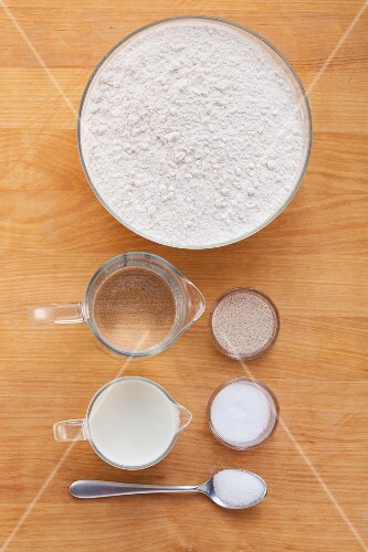 Ingredients for a loaf of white bread
