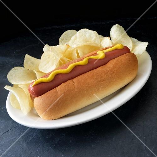 hot dog mit senf und kartoffelchips bild kaufen 12336217 stockfood. Black Bedroom Furniture Sets. Home Design Ideas