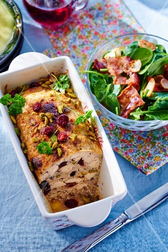 Chicken terrine with cherries and pistachios served with for Chicken and pork terrine with pistachio