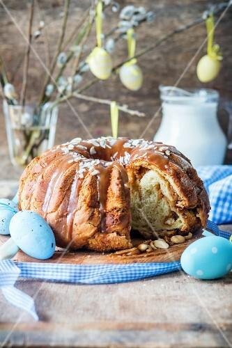Easter cake (Babka) with a nut filling