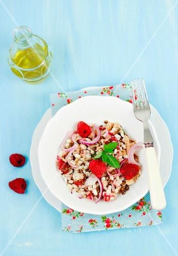 Barley salad with tuna, raspberries and red onion
