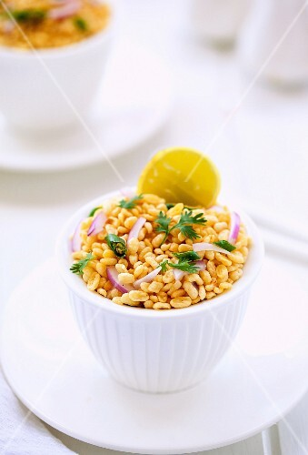 A yellow mung bean salad with onions