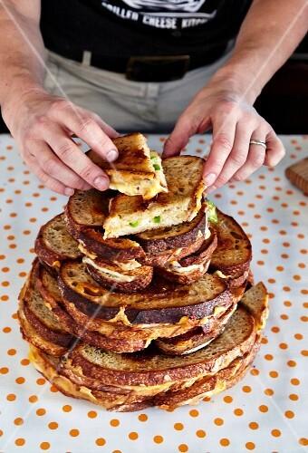 Preparing Grilled Cheese Cake Sandwich