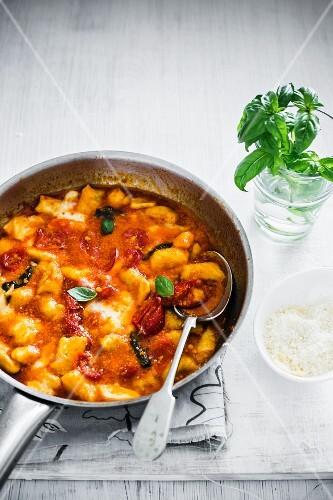 Gnocchi alla sorrentina (gnocchi with tomato sauce and mozzarella)