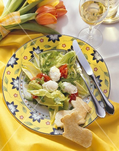 Poached Eggs on Salad; Bunny Toast Cut Outs