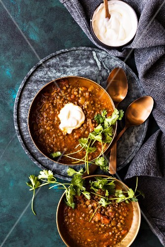 Lamb soup with lentils and chermoula