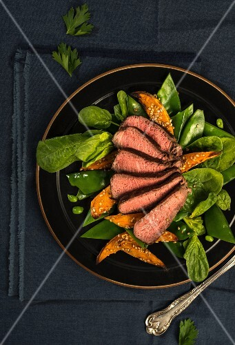 Steak slices with sweet potato chips and salad