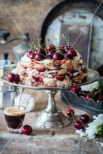 Chocolate pavlova with cherries