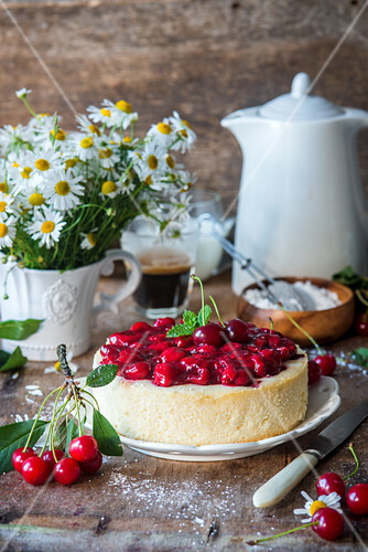 Quark cheesecake without base with cherry sause