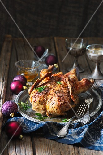 Roast goose on a tin plate