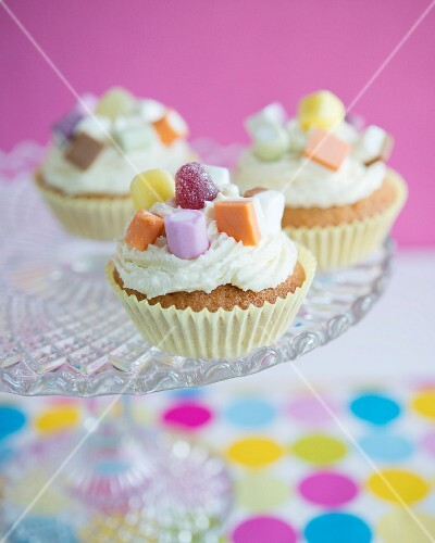 Cupcakes with buttercream and sweets