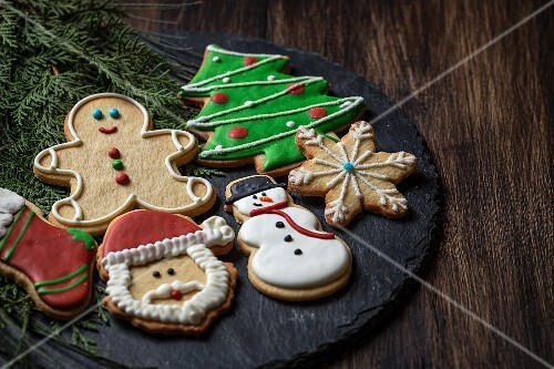 Assorted colorfully decorated Christmas cookies