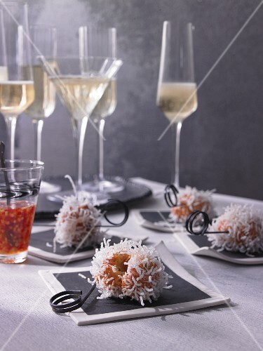Exploding shrimp balls with glass noodles and spicy ginger sauce