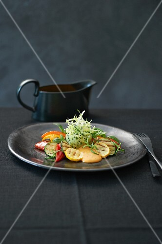 Potato and lime mash with grilled vegetables