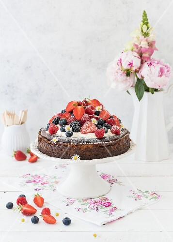 Chocolate cheesecake with berry topping