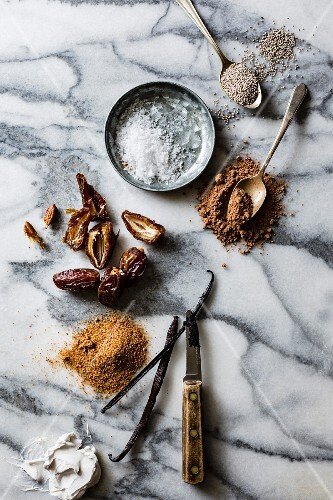 Ingredients for homemade vegan salted caramel and chocolate ice cream