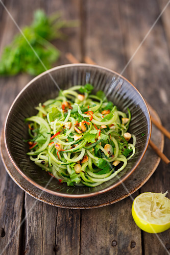 Cucumber noodle salad with peanuts