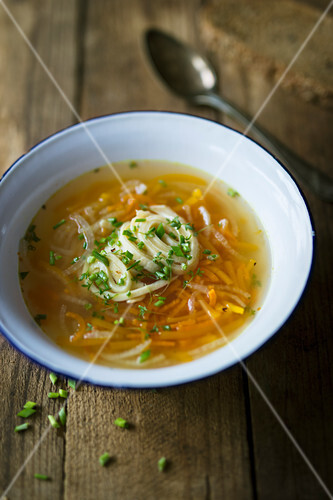 Chicken broth with pancake strips