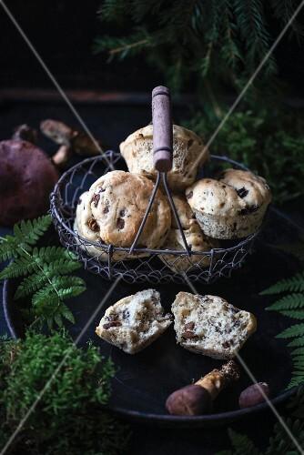 Vegan wild mushroom muffins
