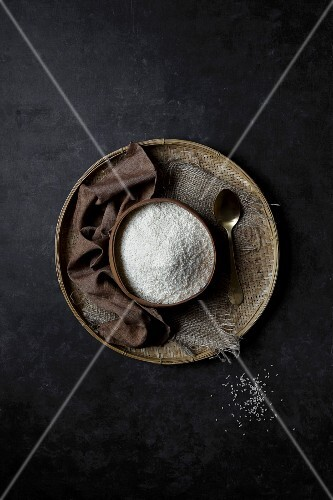 Indian Short Grain Rice on a black background
