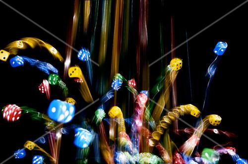 Falling dice, time lapse image