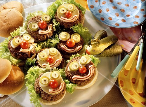 A Platter of Hamburgers with Funny Faces