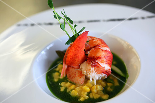 Lobster with corn pudding and asparagus